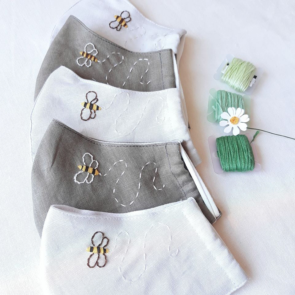 Honey Bee Hand Embroidery Linen FaceMask