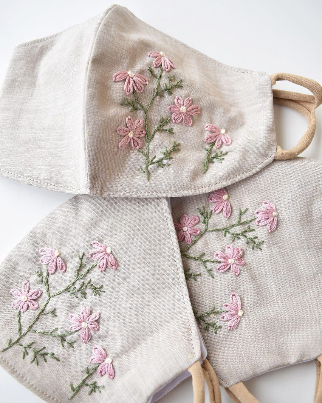 Handmade Pink Chamomile Embroidered Face Mask