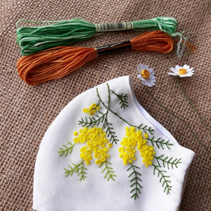 Flower Hand Embroidery Linen Mask