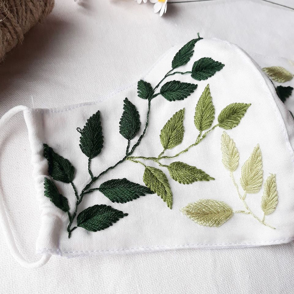 Handmade Leaf Embroidery Linen Face Mask