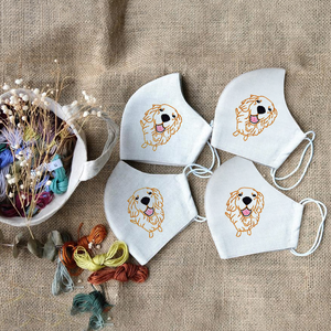 [CLEARANCE SALE] Golden Retriever Hand Embroidery Linen FaceMask