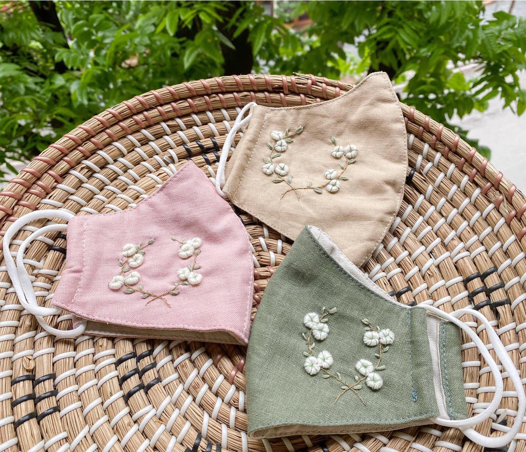 [BIG SALE] Cotton Flower Hand Embroidery Linen Mask