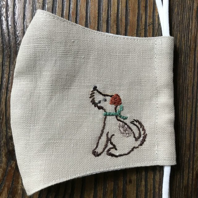 [CLEARANCE SALE] Good Boy Hand-Embroidered Linen Fabric Mask