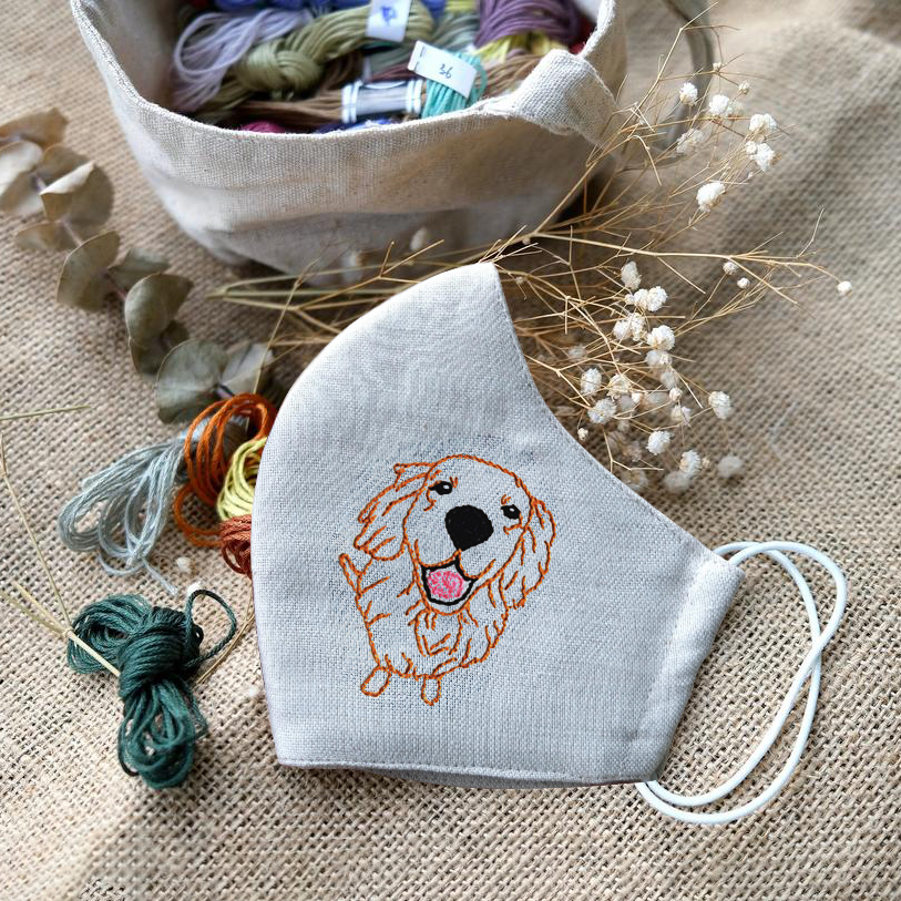 [BIG SALE] Golden Retriever Hand Embroidery Linen FaceMask