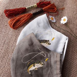 Fishing Hand Embroidery Linen FaceMask