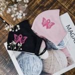 Butterfly Breast Cancer Awareness - Hand Embroidery Linen Mask