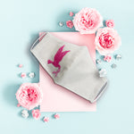 Breast Cancer Awareness Bird and Ribbon - Hand Embroidery Linen Mask