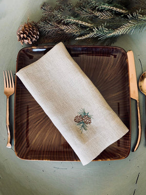 Pine Cone Hand Embroidery Napkins, Thanksgiving Napkins