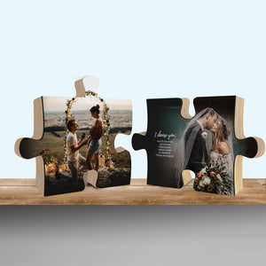 Photo On Wood Puzzle, Personalized Valentine Gift