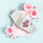 Breast Cancer Awareness Sea Turtle Ribbon - Hand Embroidery Linen Mask
