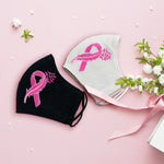 Breast Cancer Awareness Flying Bird Ribbon - Hand Embroidery Linen Mask