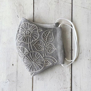 Leaf Hand Embroidery Linen Mask