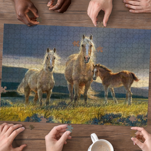 PREMIUM WOODEN PUZZLE - Beauty horse family