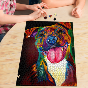 PREMIUM WOODEN PUZZLE - Colorful American Staffordshire Terrier