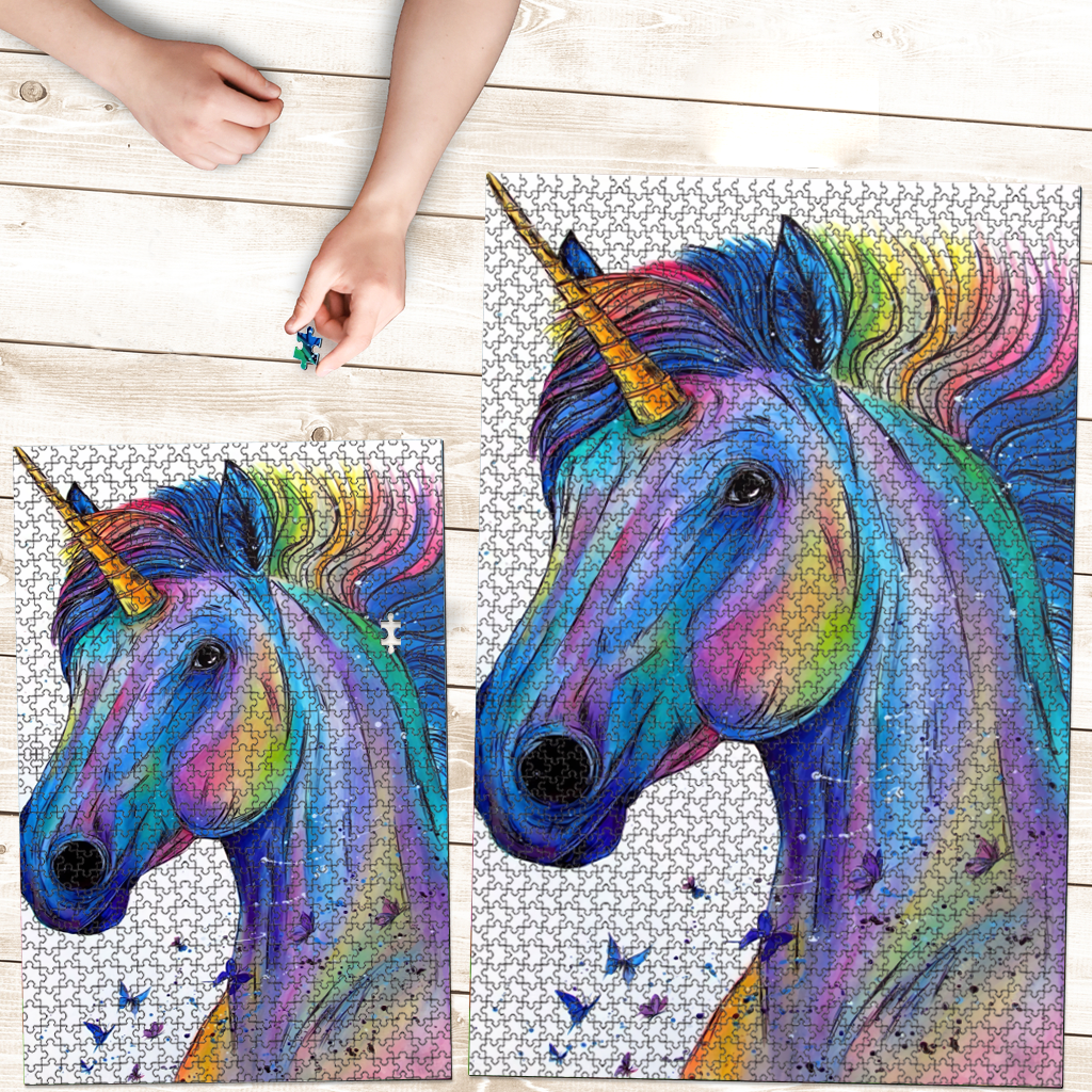 PREMIUM WOODEN PUZZLE - Colorful fantastic Unicorn