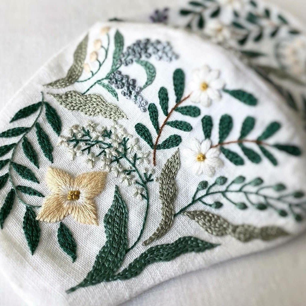 Handmade Leaf Embroidery Linen FaceMask