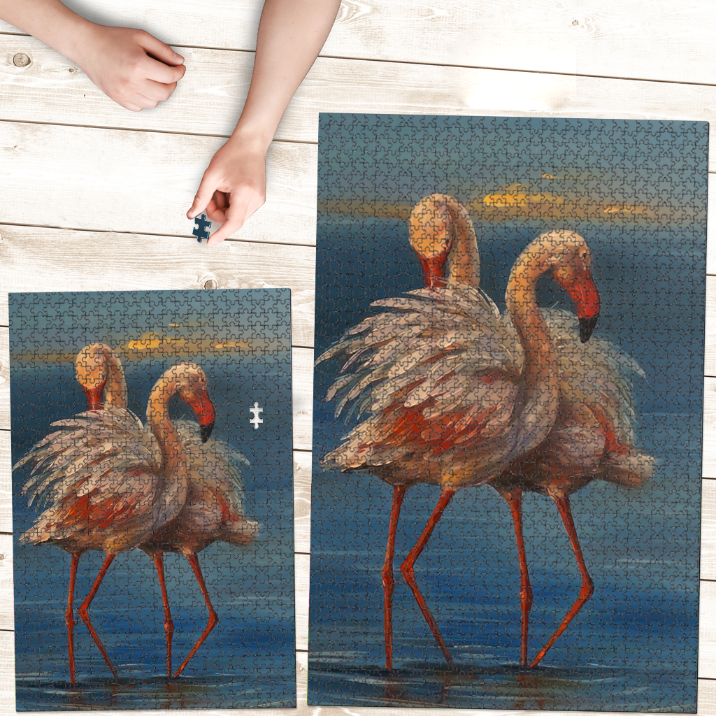 PREMIUM WOODEN PUZZLE - Flamingo couple at sunset