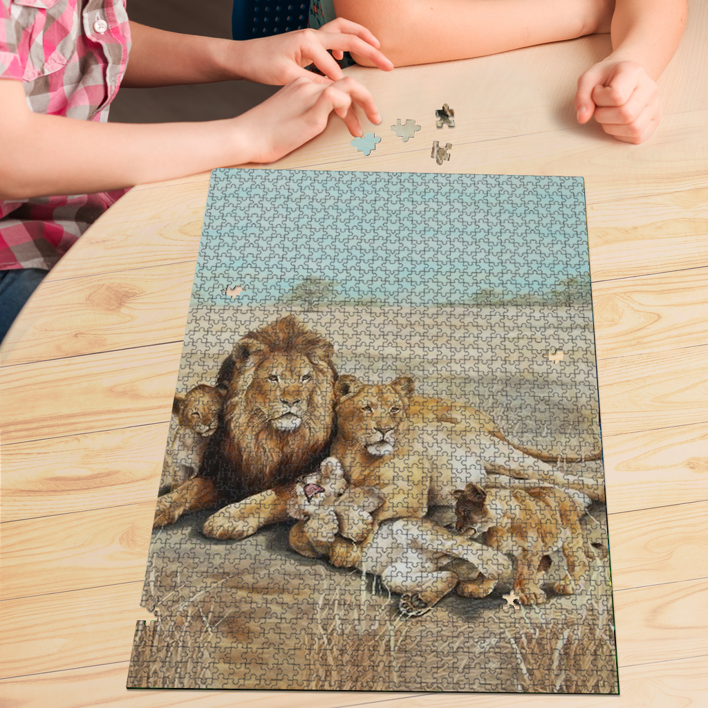 PREMIUM WOODEN PUZZLE - Lion family portrait