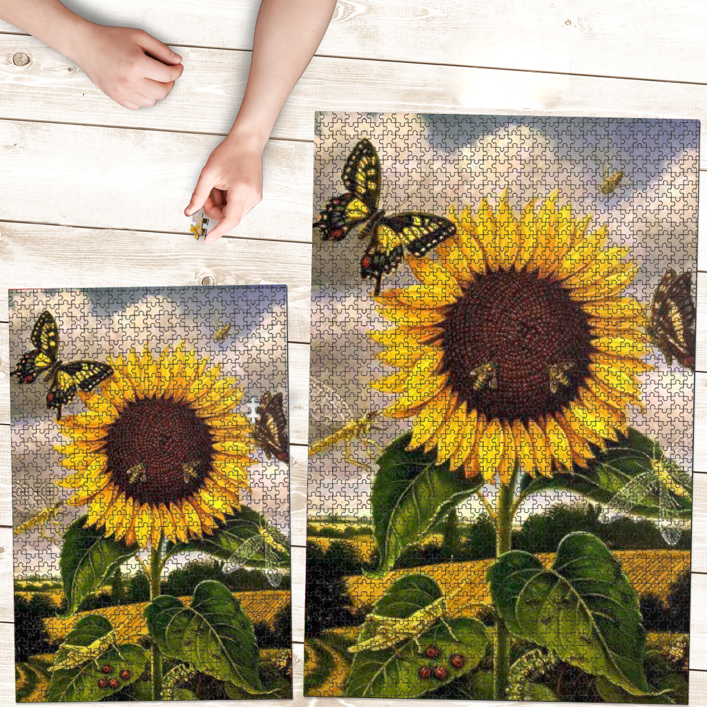 PREMIUM WOODEN PUZZLE - Sunflower And Butterfly
