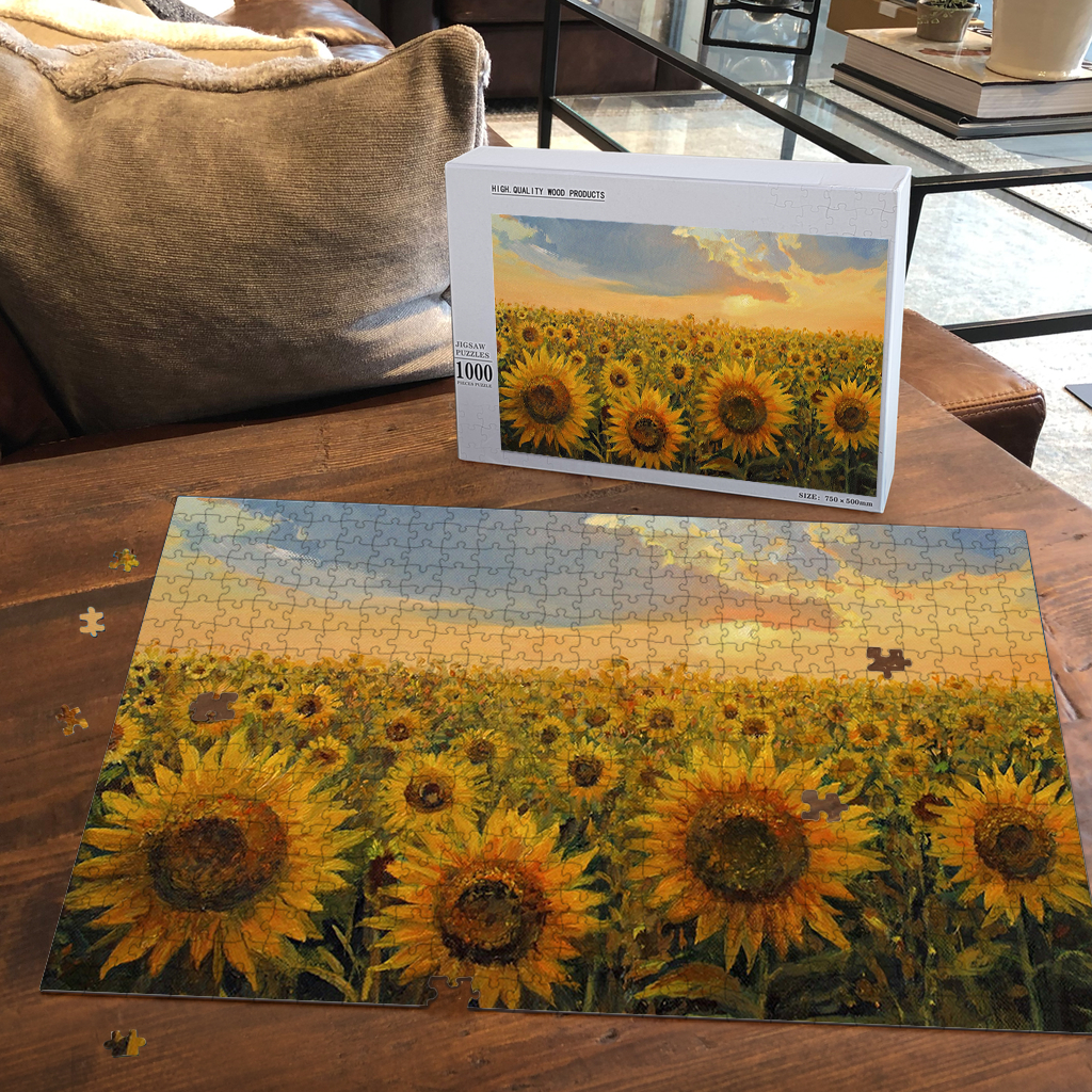 PREMIUM WOODEN PUZZLE - Sunflower field painting