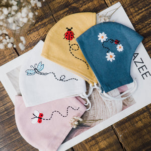 [CLEARANCE SALE] Hand Embroidery Natural Linen FaceMask