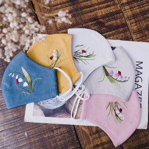 [CLEARANCE SALE] Lily of the Valley Hand Embroidery Linen FaceMask