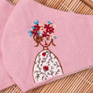 Beads Embroidery Linen Face Mask, Hand Embroidery Mask