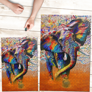 PREMIUM WOODEN PUZZLE - Colorful elephant