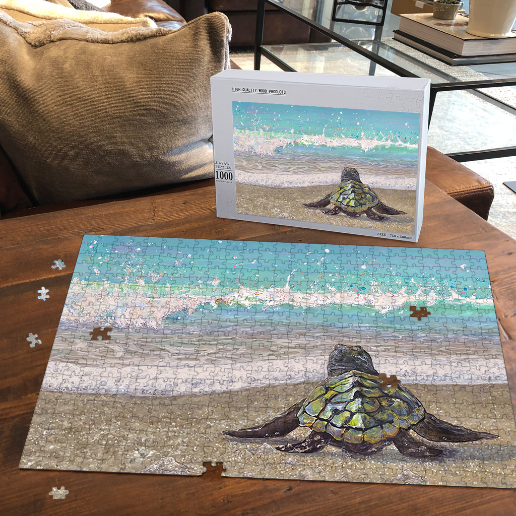 PREMIUM WOODEN PUZZLE - Sea Turtle On The Beach