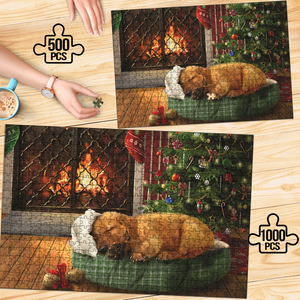 PREMIUM WOODEN PUZZLE - Cute sleeping puppy