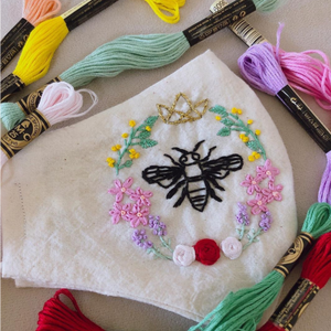 [CLEARANCE SALE] Bee & Sunflower Hand-Embroidered Linen Mask