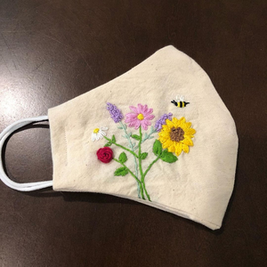 Bee & Sunflower Hand-Embroidered Linen Mask