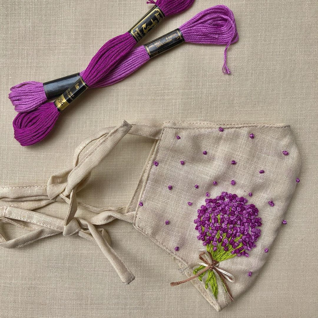 LAVENDER Hand-Embroidered Vintage Linen Fabric Mask