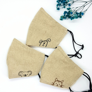 [BIG PROMO] Baby Animal Hand-Embroidered Vintage Linen Fabric Mask