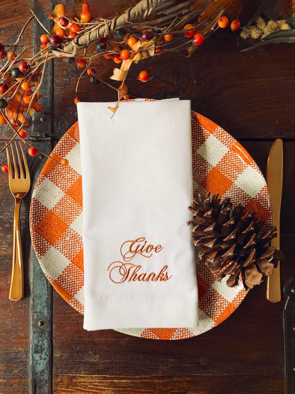 Give Thanks Hand Embroidery Napkins, Thanksgiving Table Decor