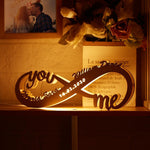 Custom Infinity You & Me Night Light Engraved Wood Lamp