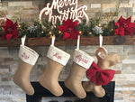 Personalized Hand Embroidery Linen Christmas Stocking