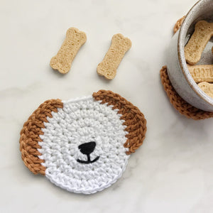 Cute Dog Handmade Crochet Coasters Set