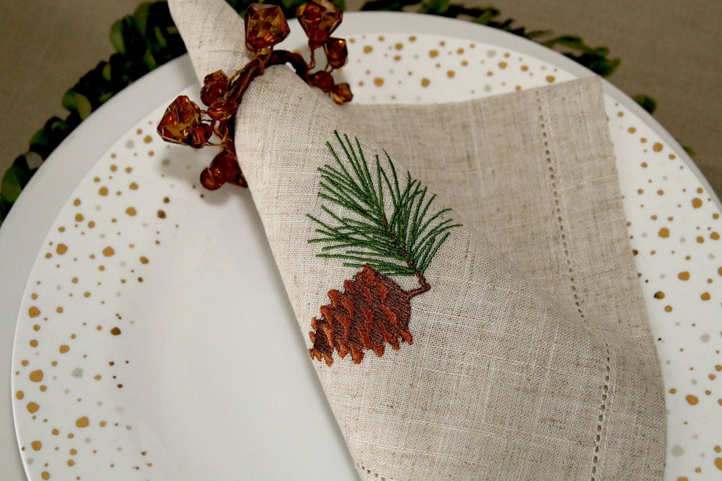 PineCone Hand Embroidery Napkins