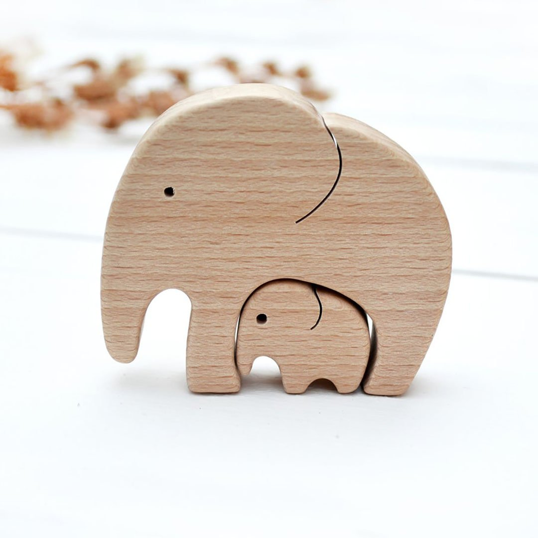 Personalized Wooden Elephant Puzzle - Mother's Day Gift