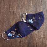 Blue Flower Hand Embroidery Cloth Face Mask
