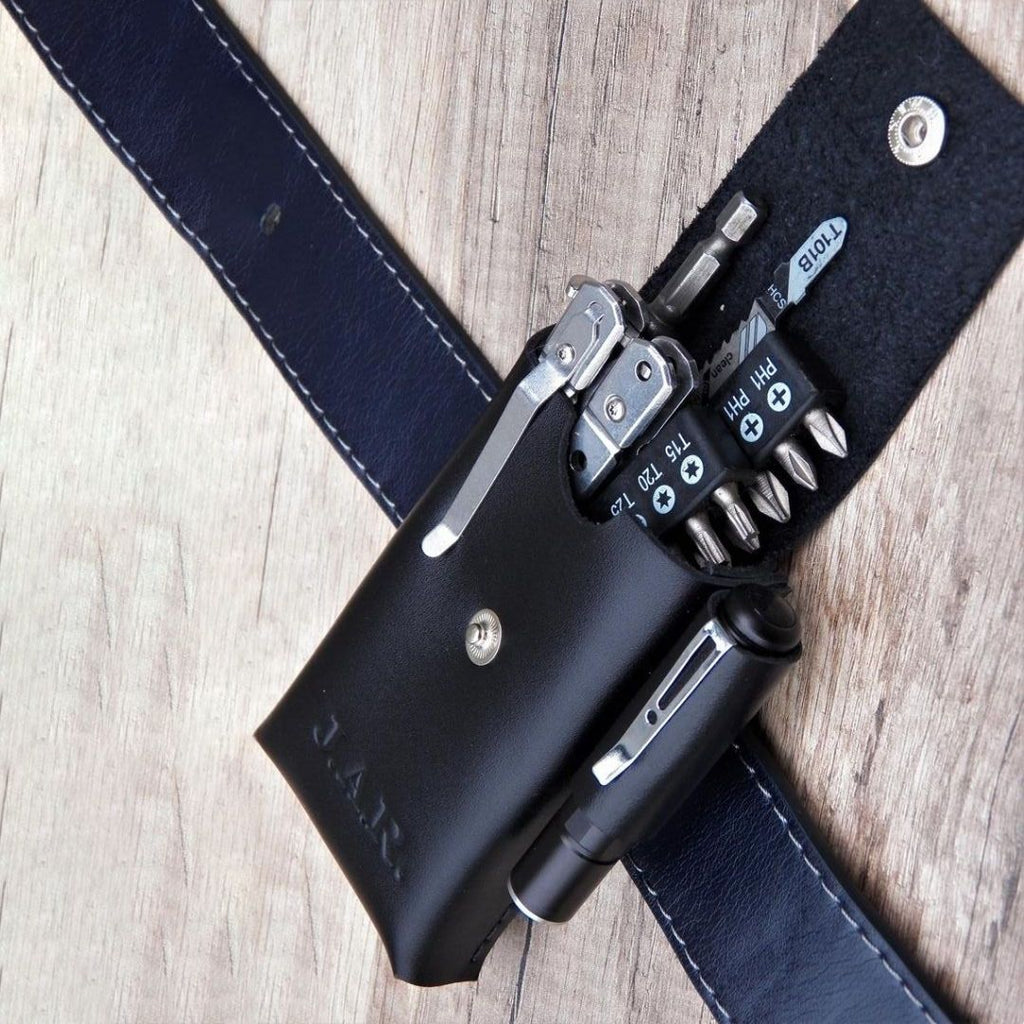 EDC Leather Belt Organizer Pocket - Father's Day Gift - Gift For Dad - Gift For Men - Mechanics Gift