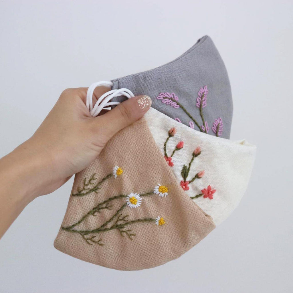 Botanical Hand Embroidery Linen Face Mask