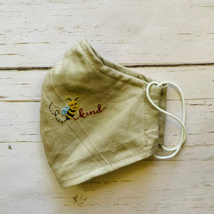 Bee Kind Hand Embroidery Linen Face Mask