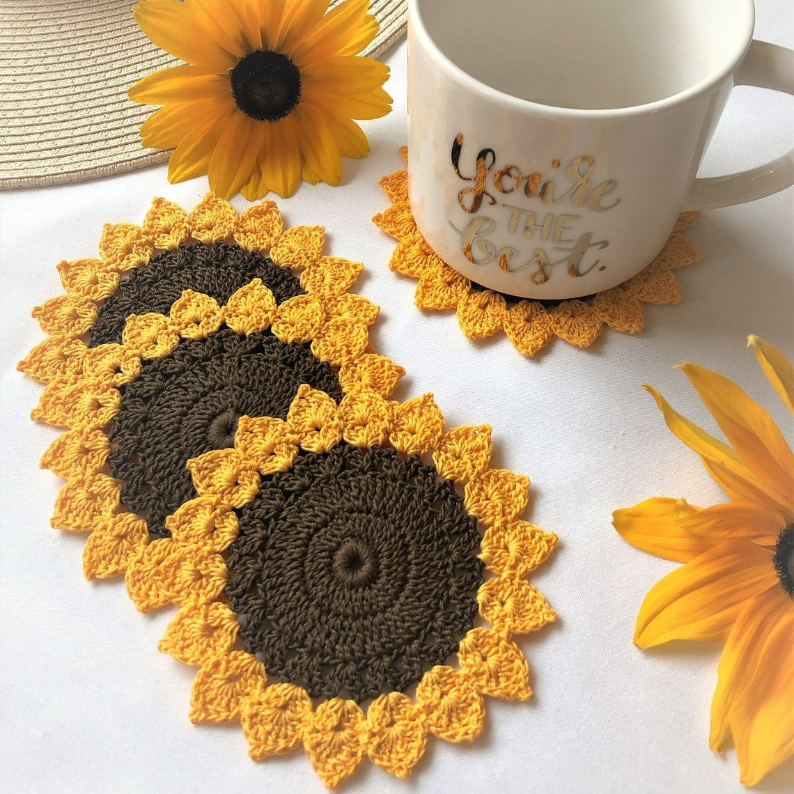 Handmade Crochet Sunflower Coaster | Drinking Wares Accessories