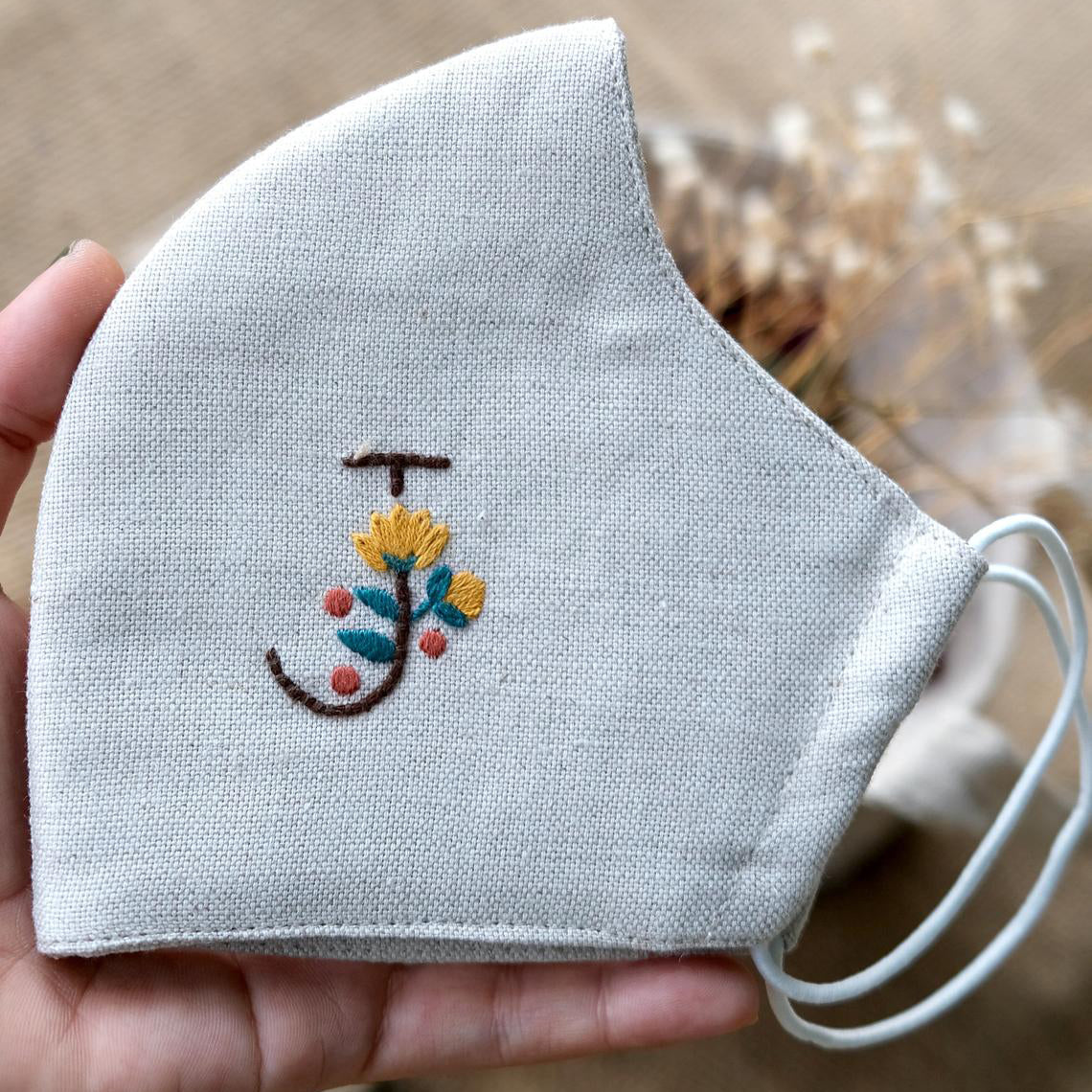 [BIG SALE] Customized Name Hand Embroidery Linen Face Mask