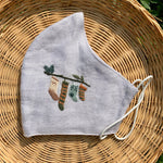 Christmas Stockings Hand Embroidery Linen FaceMask