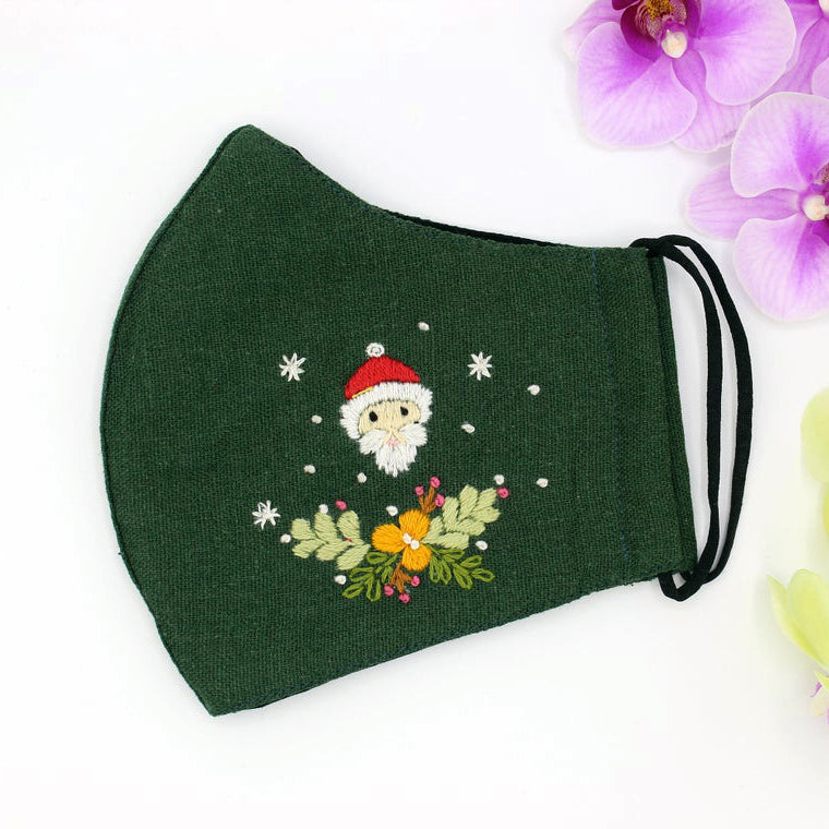Santa Clause Hand Embroidery Linen FaceMask