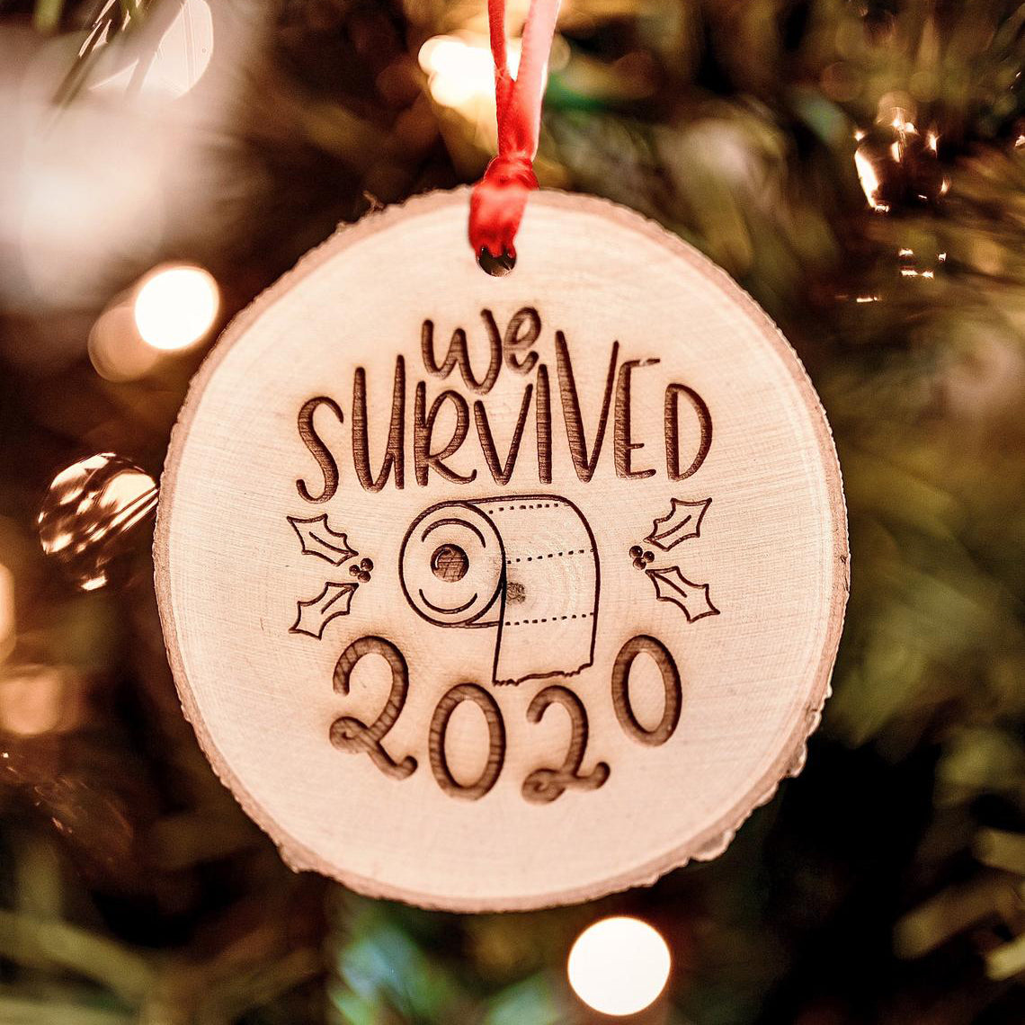 Pandemic Toilet Paper Shortage Christmas Ornament, I Survived 2020 Funny Ornament