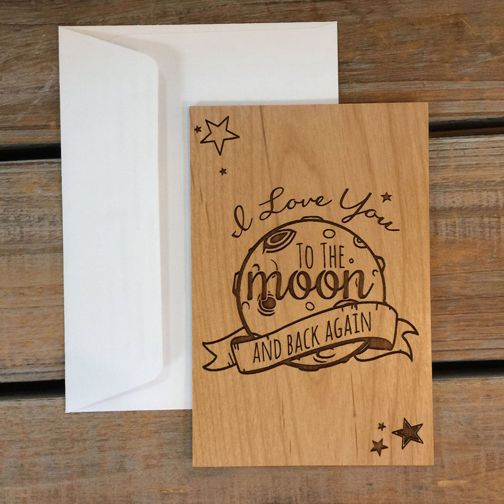 Valentine Wooden Card - Love you to the moon and back
